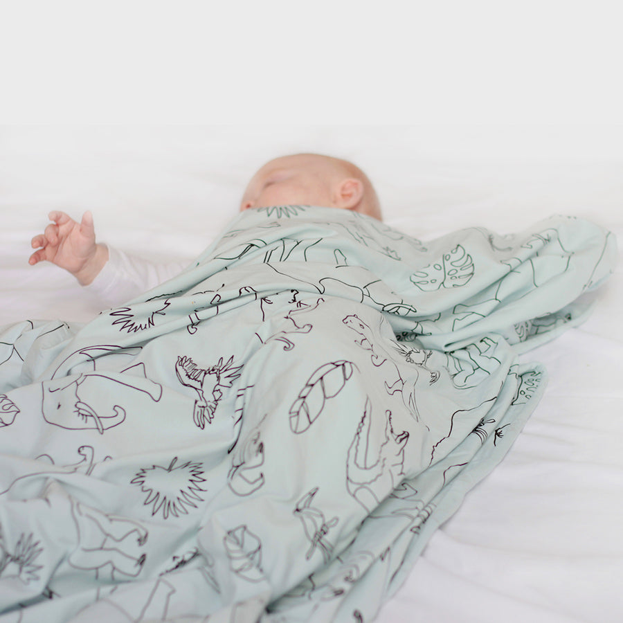 Burrow and Be - Organic Cotton Stretchy Swaddle - Jungle Print Seafoam