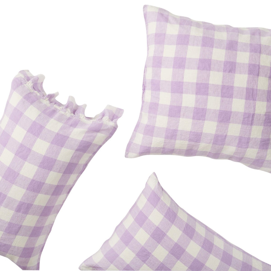 Society of Wanderers - Lilac Gingham Pillowcase Set - Standard - PREORDER