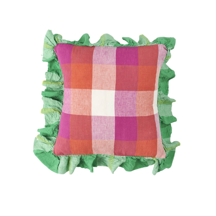 Society of Wanderers - Sherbet Check Full Ruffle Cushion (Without Insert) - PREORDER