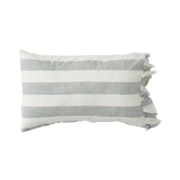 Society of Wanderers - PREORDER - Pillowcase Set with Ruffle - Fog Stripe