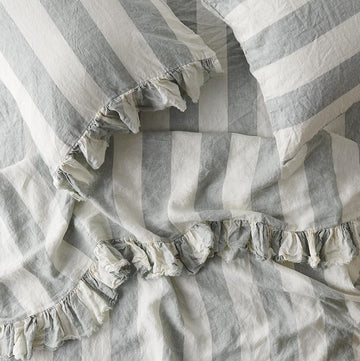 Society of Wanderers - PREORDER - Ruffle Flat Sheet - King - Fog Stripe