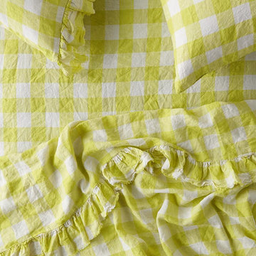Society of Wanderers - Ruffle Flat Sheet - King - Limoncello