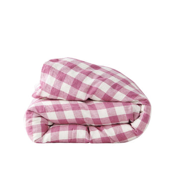Society of Wanderers - Queen- Duvet Cover - Fuchsia Gingham