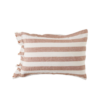Society Of Wanderers Pillowcase Set with Ruffle - Tobacco Stripe
