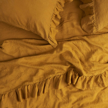 Society of Wanderers - Queen - Ruffle Flat Sheet - Turmeric
