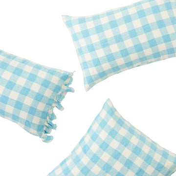 Society Of Wanderers - Pillowcase with Ruffle - Ocean Blue Gingham