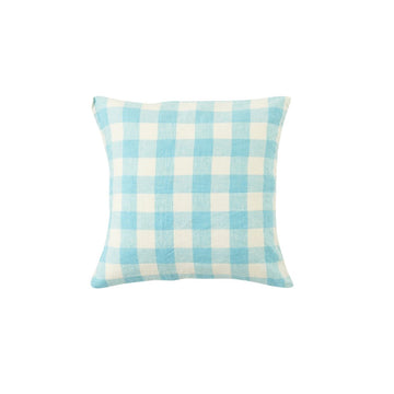 Society Of Wanderers - Cushion Cover With Insert - Ocean Blue Gingham