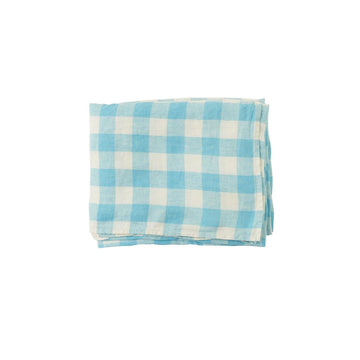 Society Of Wanderers - Linen Tablecloth 240cm x 160cm - Ocean Blue Gingham