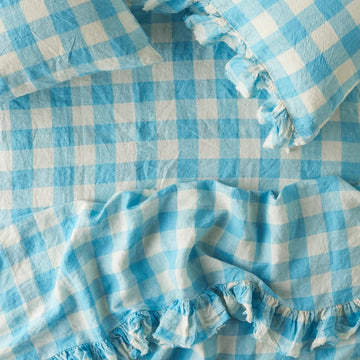 Society Of Wanderers - Ruffle Flat Sheet - Queen - Ocean Blue Gingham