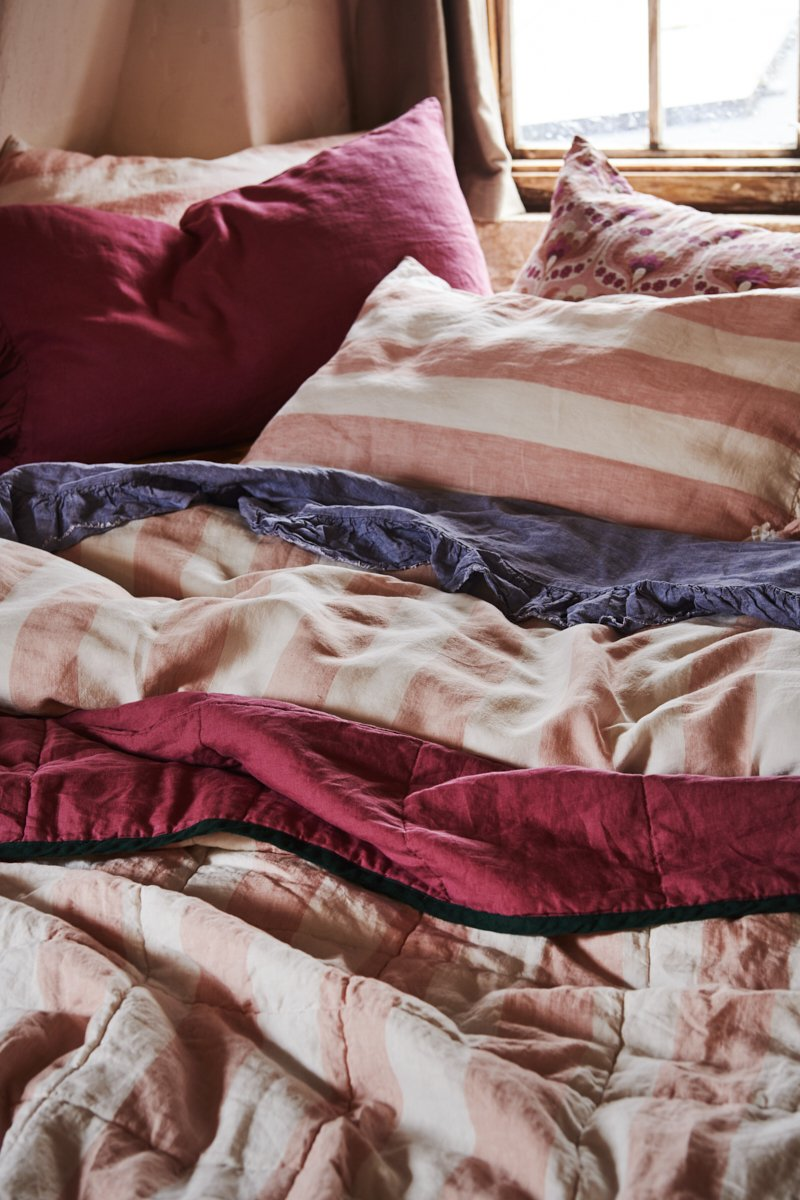 Society of Wanderers - King - Fuchsia /Blush Stripe Quilt
