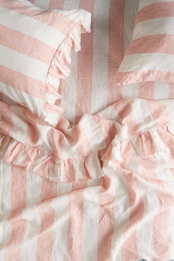 Society of Wanderers - Queen - Ruffle Flat Sheet - Blush Stripe