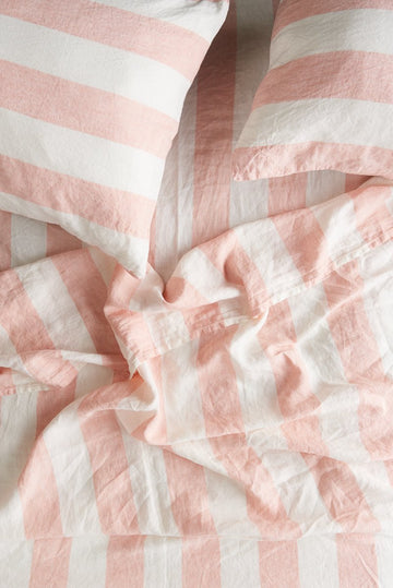 Society of Wanderers - Queen - Fitted Sheet - Blush Stripe