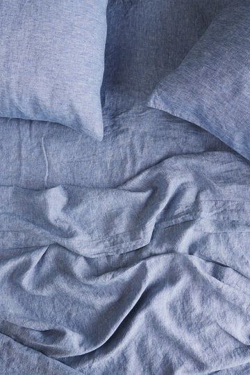 Society of Wanderers - King - Ruffle Flat Sheet - Chambray