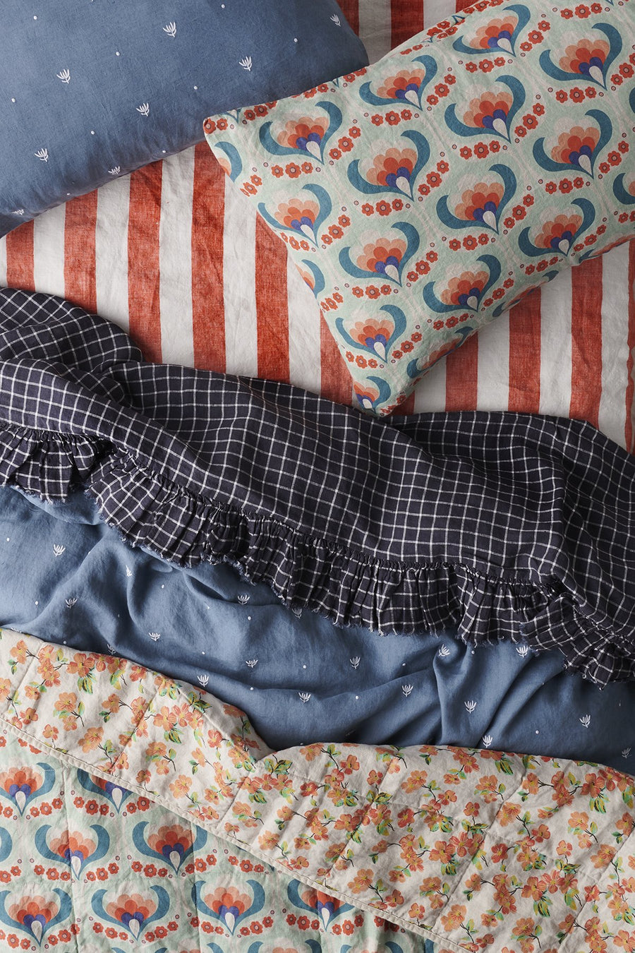 Society of Wanderers - Queen - Ruffle Flat Sheet - French Navy Grid