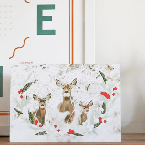 Down To The Woods - Embroidered Card Deers