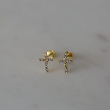 Sophie - Sparkle Cross Studs - Gold