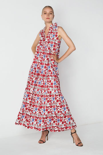 S/W/F - Ruffle Tiered Maxi - Red Fleur