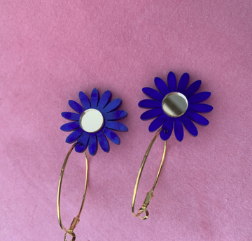 Emeldo - Daisy Earrings - Blue Mable with Gold