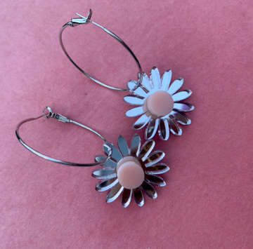 Emeldo - Daisy Earrings - Silver Mirror with Pale Pink (on silver hoops)