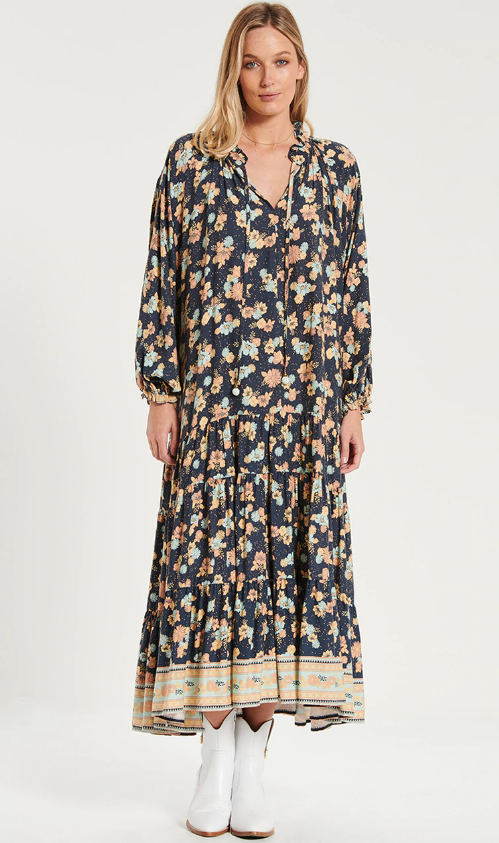 Bohemian Traders - RUFFLE HEM MAXI DRESS IN ELECTRIC BAY
