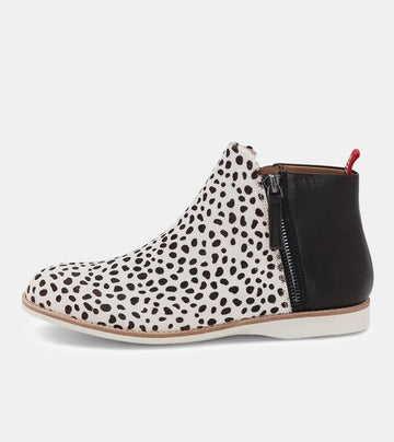Rollie - Side Zip Boot - Snow Leopard/Black