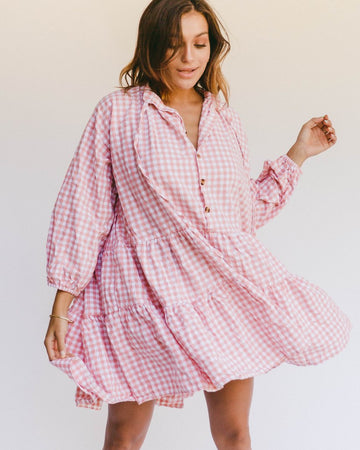 The Lullaby Club - PREORDER - Avalon Smock Dress // Candy Gingham