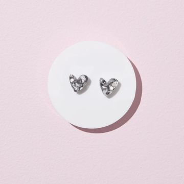 Emeldo - Heart Studs Earrings - Silver