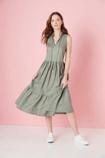 Elms + King - Warwick Tiered Dress - Khaki (Navy/White Piping)