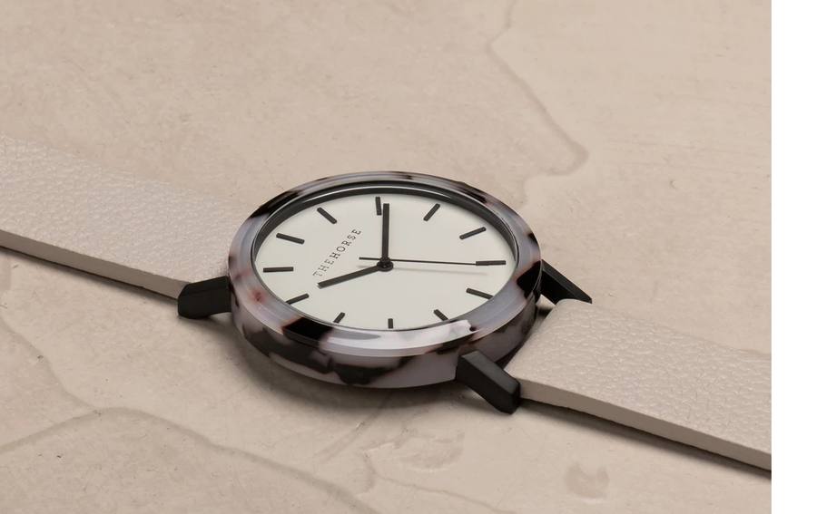The Horse - The Mini Resin: Blonde Tortoise Shell / Soft Grey Dial / Grey Leather