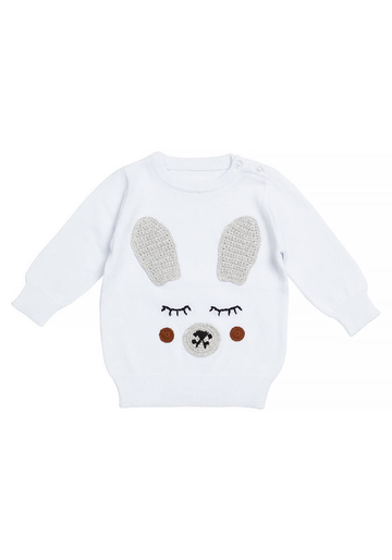 MIANN & CO BABY JUMPER - WHITE BUNNY RABBIT