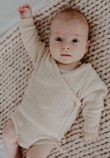 Miann & Co - Baby Knit Wrap Bodysuit - Eggnog