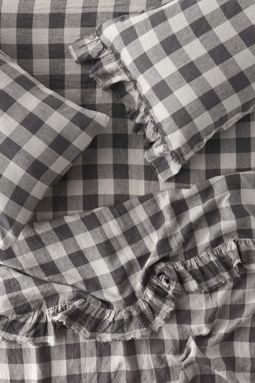 Society of Wanderers - Licorice Gingham - Ruffle Flat Sheet - King