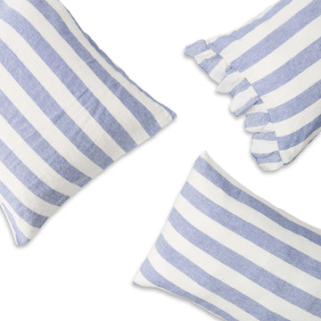 Society of Wanderers - Pillowcase Set with Ruffle - Chambray Stripe