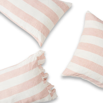 Society of Wanderers - Pillowcase Set with Ruffle - Blush Stripe