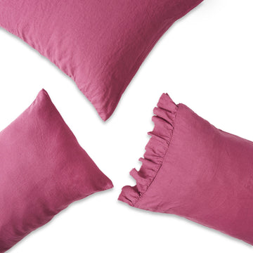 Society of Wanderers - Pillowcase Set with Ruffle - Fuchsia
