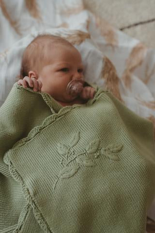 Pop Ya Tot - Heirloom Embroidered Blanket - Pistachio