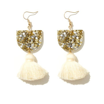 Emeldo - ANNIE EARRINGS // GOLD & SILVER WITH CREAM