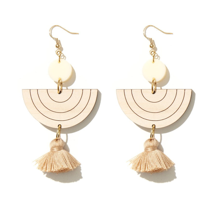 Emeldo - Wanda Earrings - Cream with MDF and Caramel Tassels