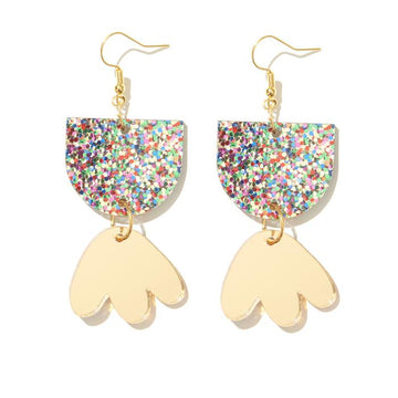 Emeldo - Bambi Earrings - Rainbow Glitter with Gold Mirror