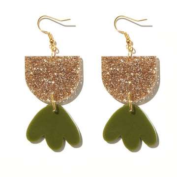 Emeldo - Bambi Earrings - Fine Gold Glitter & Olive