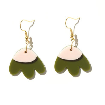 Emeldo - Elle Earrings - Olive with Baby Pink