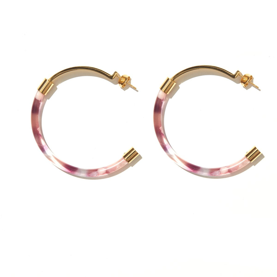 Emeldo - Gia Luxe Hoop Earrings - Pink & Purple with Gold