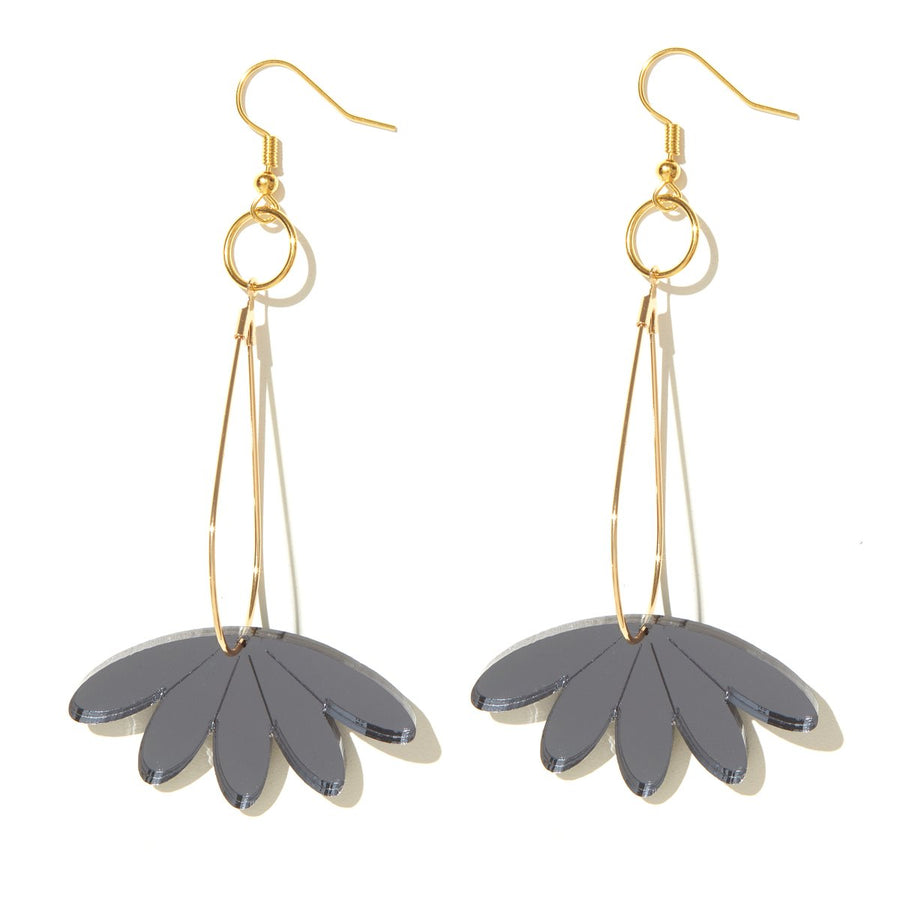 Emeldo - Bon Earrings - Charcoal Mirror on Gold