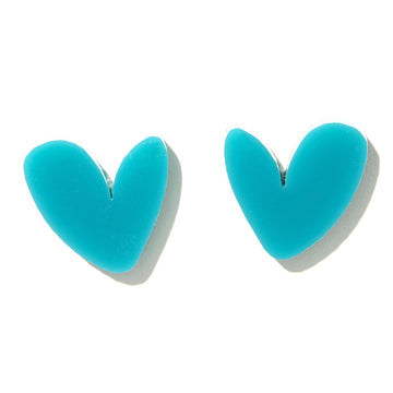 Emeldo - Heart Stud Earrings - Teal