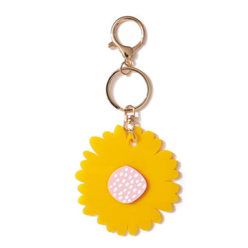 Emeldo - Giant Flower Key Ring - Sunshine Yellow & Pink