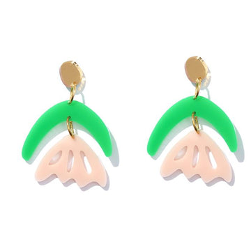 Emeldo - Arlie Earrings - Green & Pink