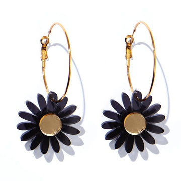 Emeldo - Daisy Earrings - Translucent Black with Gold Mirror