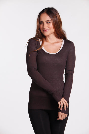 Bamboo Body - Featherweight Scoop Knit - Cacao