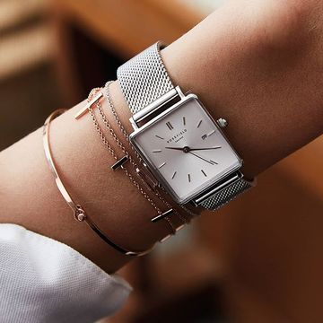 Rosefield Watches - The Boxy Watch - White Sunray - Silver / 33mm