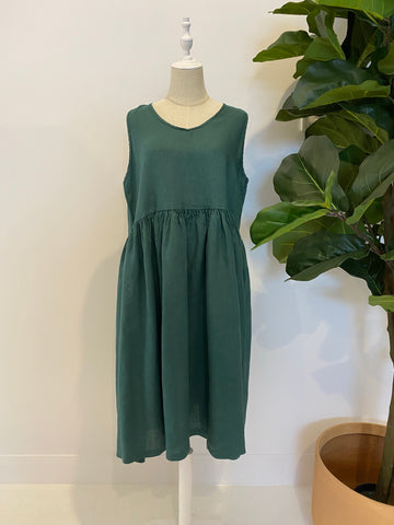 Montaigne - Linen Sleeveless Dress with V Neck & Pockets - Teal